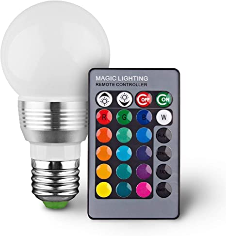 Multi-Color LED Light Bulbs with Remote 2 Pack