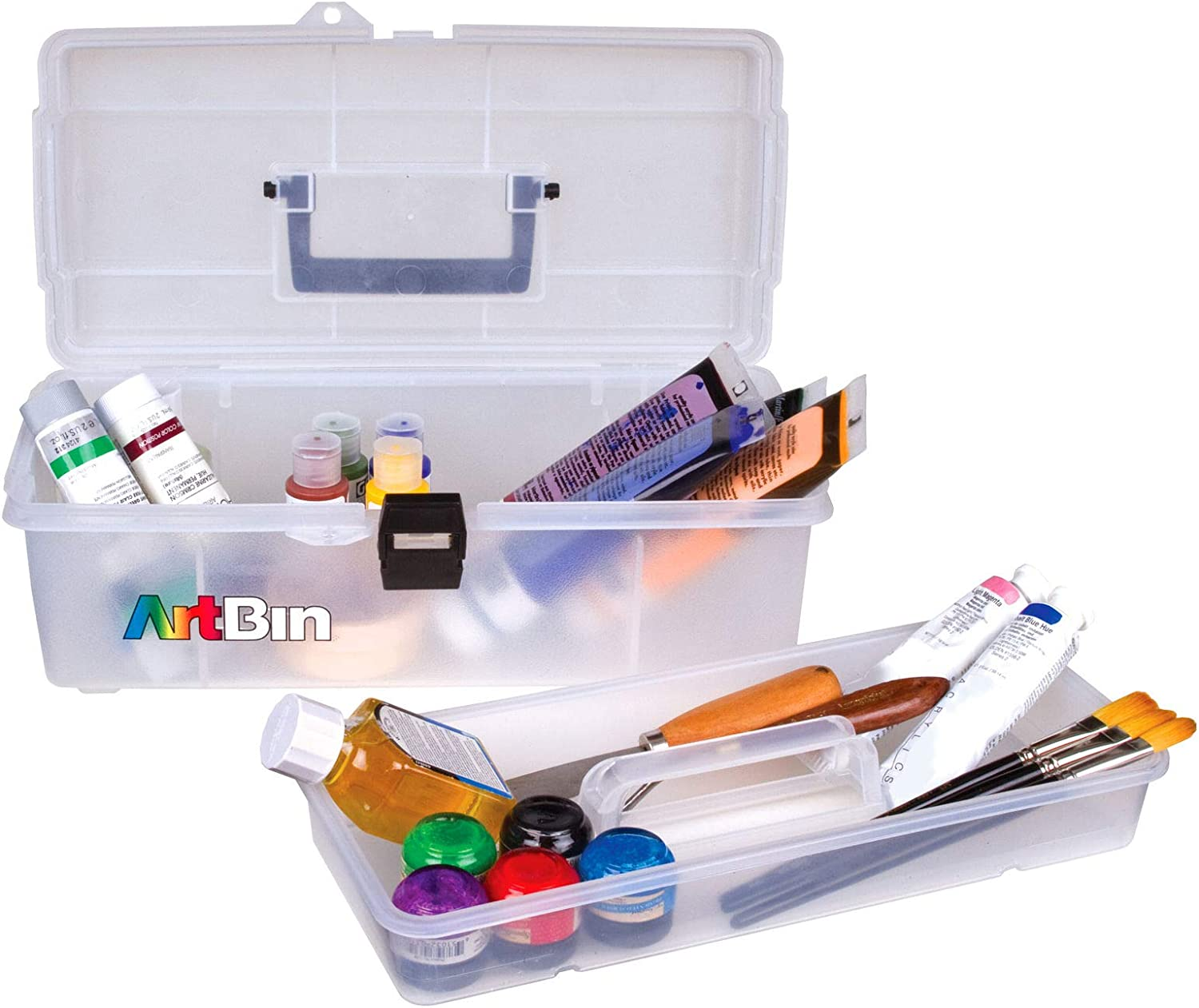 ArtBin 6965AB 14 in. Lift-Out Tray Box, Portable Art & Craft Organizer with Handle and Tray, [1] Plastic Storage Case, Clear