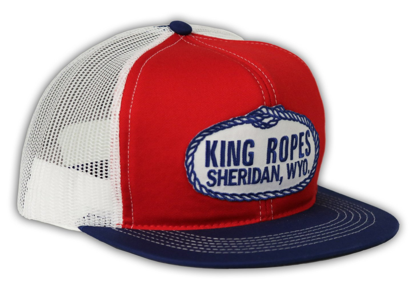 Kings Saddlery Brand King Ropes Snapback Adjustable Red, Blue, and White Mesh Hat