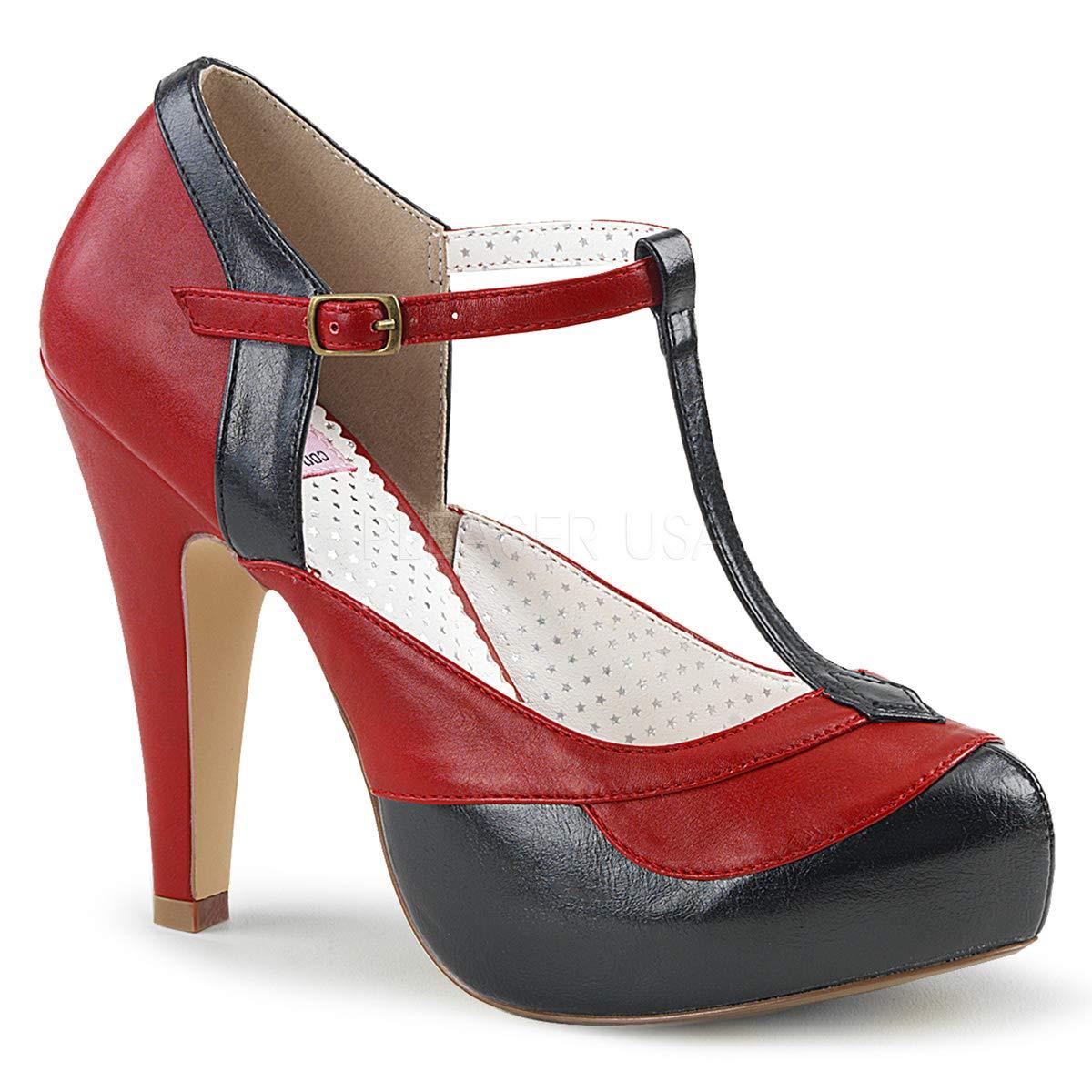 Pinup Retro Couture BETTIE-29 Damen Retro Pinup Pumps schwarz-ROT Faux Leder fec295