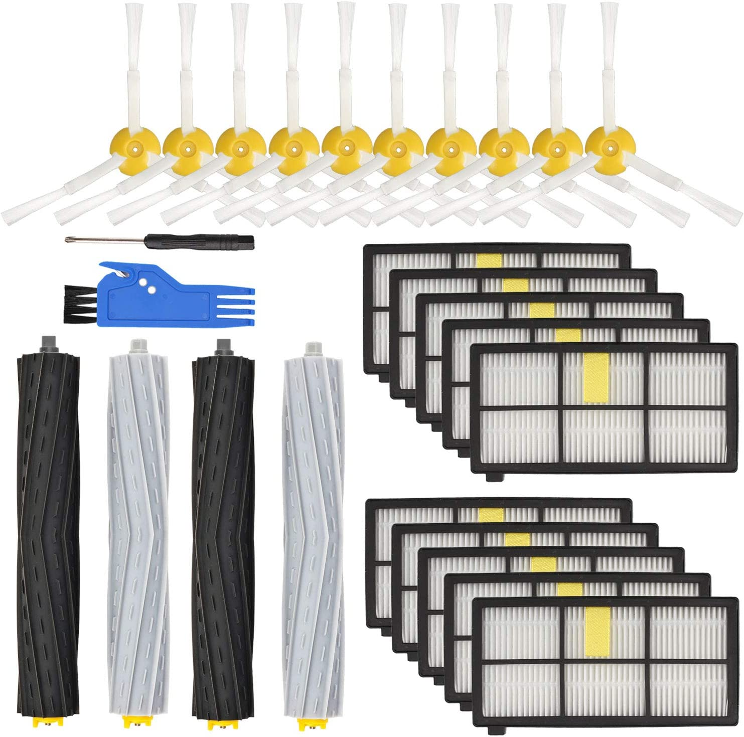 LhhTing Replacement Parts Accessory Kit for iRobot Roomba 800 Series 850 860 861 864 866 870 871 880 890 891 & 900 Series 960 961 964 980 Replenishment Kit,10 Filter,10 Side Brush,2 Debris Extractor
