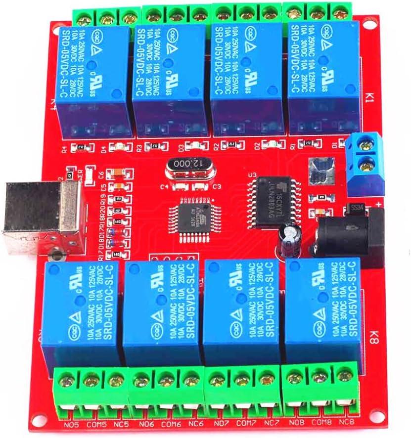 DC 12V 8 Kanal USB Relaiskarte Modul PC Computer Control F/ür Home