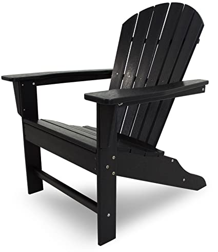 Beau POLYWOOD Outdoor Furniture South Beach Adirondack Chair, Black Recycled  Plastic Materials
