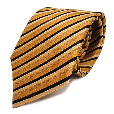 Corbata de seda - oro beige negro rayas: Amazon.es: Ropa y accesorios