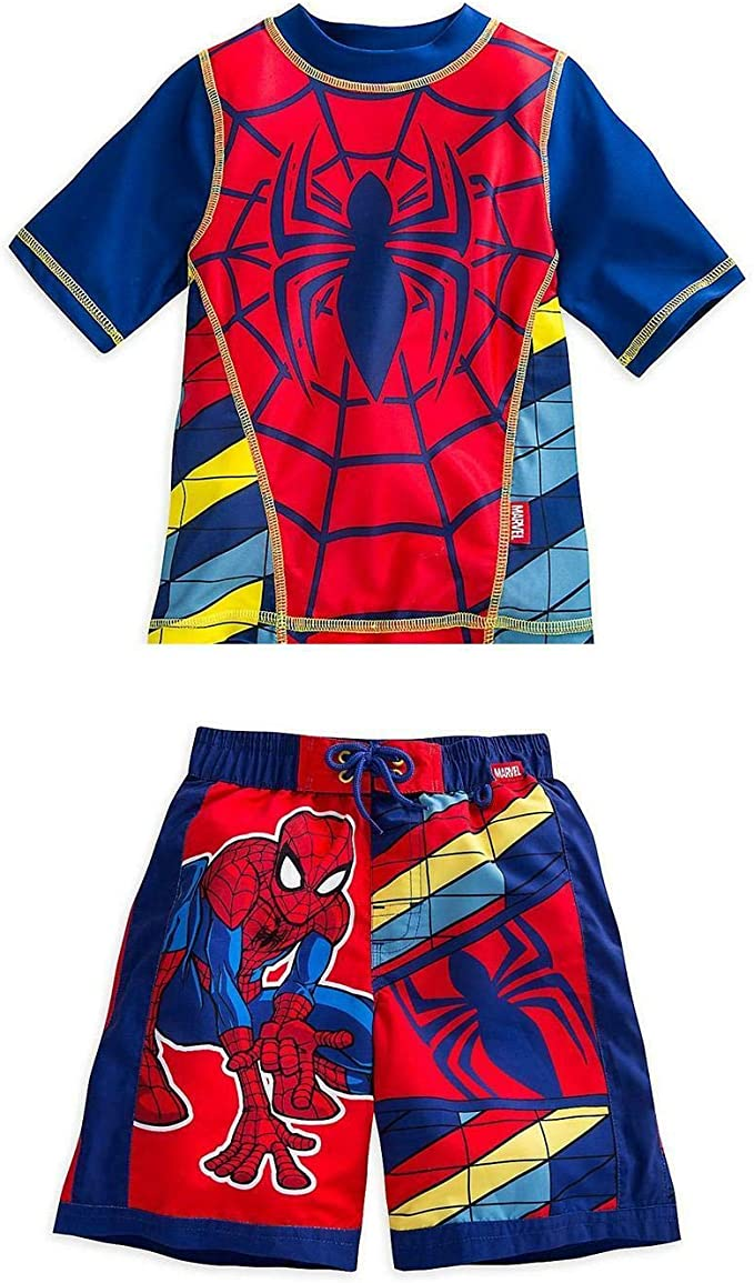 Spiderman Marvel Little Boys Rash Guard and Swim Trunks Set