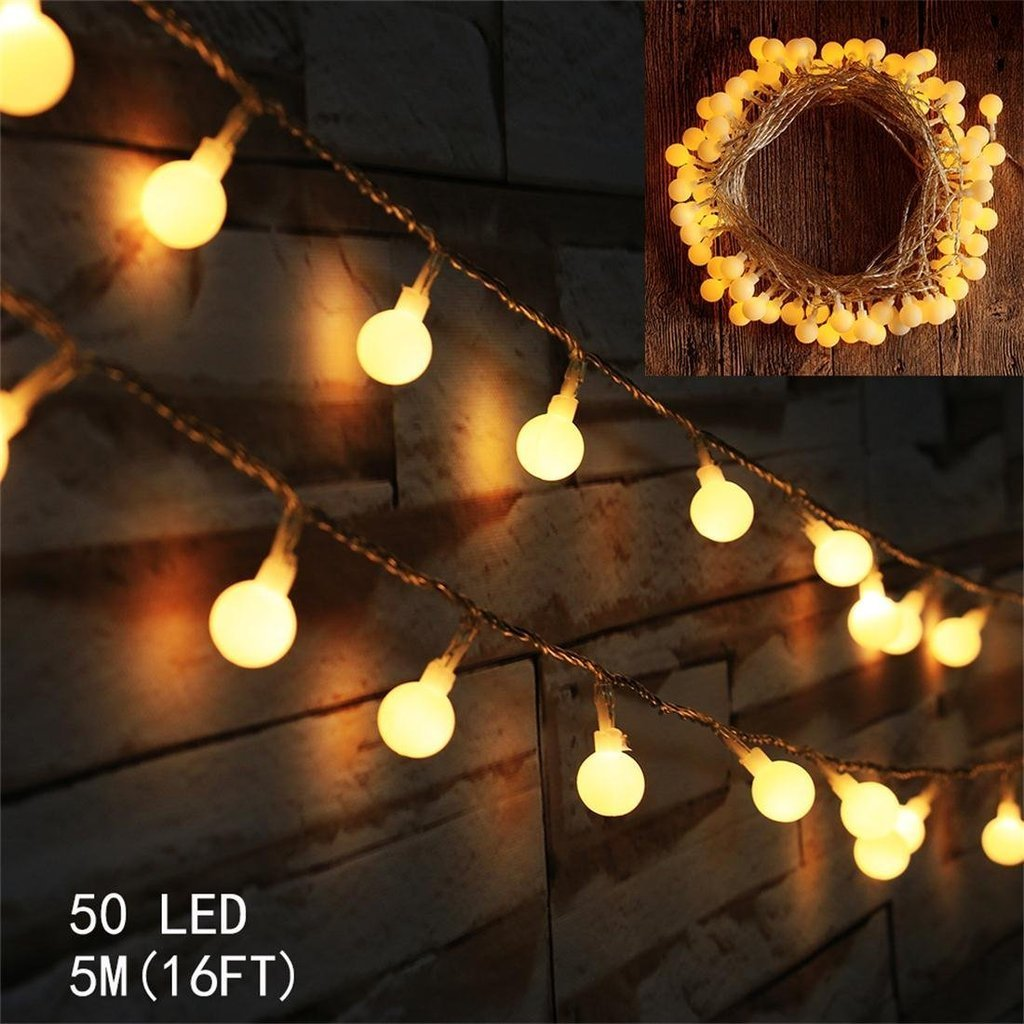 Indoor Globe LED String Light Battery Powered AMARS 33 Feet 80leds Ball Garden Party Ambient Starry String Lights for Bedroom, Party, Dorm, Outdoor, Patio (Warm White)