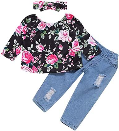 Baby Toddler Girl Clothes Ripped Jeans Outfit Ruffle Blouse Top Tunic Flare Denim Pant for Little Kids Fall 1-7Y Black Flower, 2-3Y