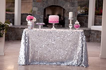 Amazon Lqiao 6ft Rectangular Sequin Tablecloth Silver 2017 Hot