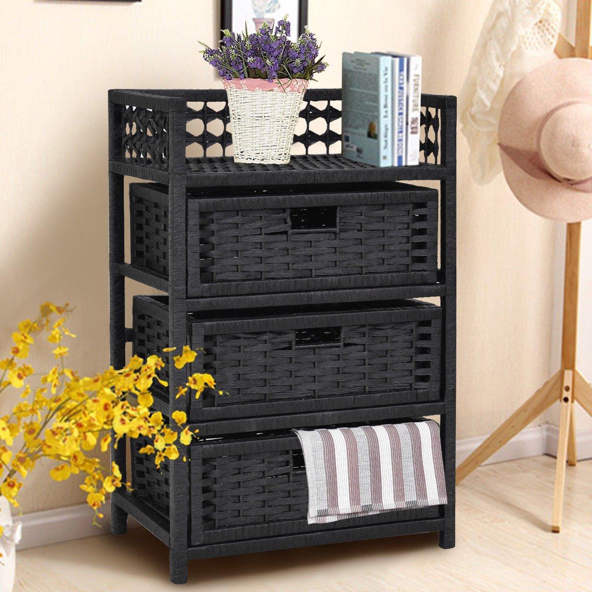 3 Drawer Storage Unit Tower Shelf Wicker Baskets Storage Chest Rack Black