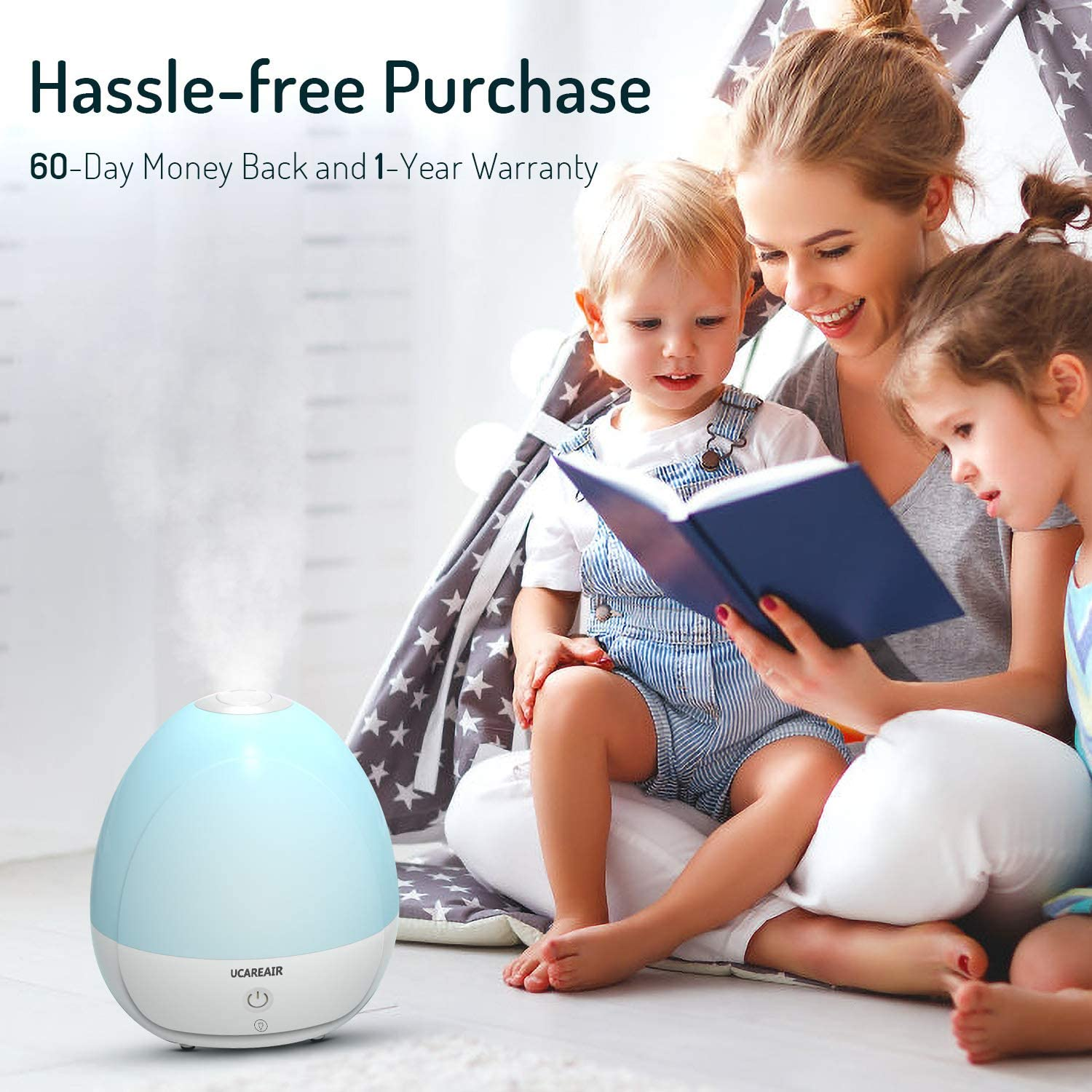 Quiet Mist Humidifier Humidifier for Bedroom Baby Kids Nursery 2L Tank Filterless Humidifiers Cool Mist Humidifier Waterless Auto-off ETL Approved 7 LED Color for Night Light,High Low Mist