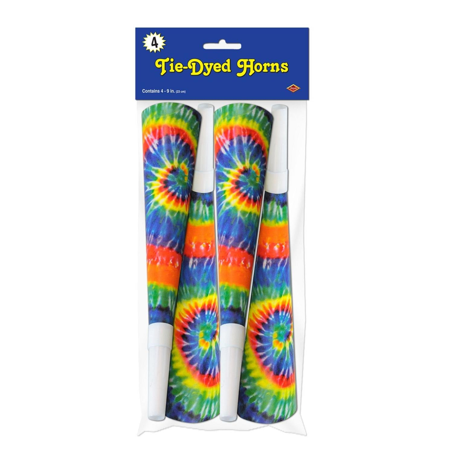 Club Pack of 192 Tie-Dyed Fun Psychedelic Blowout Party Horns 9''