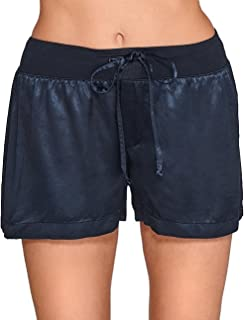 product image for PJ Harlow Women's Mikel Satin Boxer Short with Draw String - PJSB5 (XL, Navy)