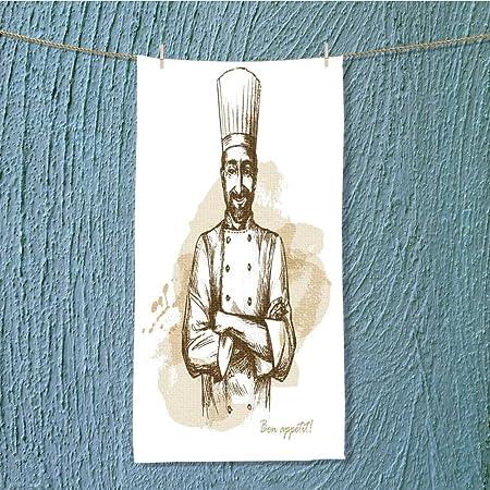 L-QN Toalla de Ejercicio Sonriente y Feliz Chef Vector Dibujada a ...