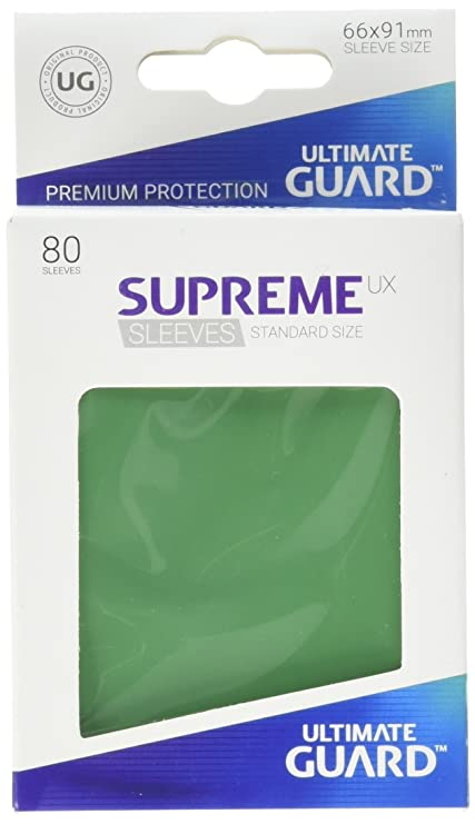 Ultimate Guard Supreme UX Card Sleeves (80 Piece), Green, Standard Size