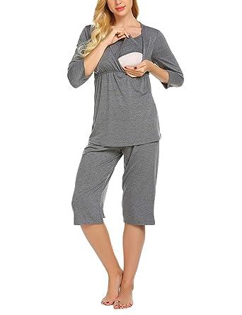 3aa5a52684 MAXMODA Damen Umstandspyjama Stillfunktion Stillschlafanzug Langarm Stillpyjama  mit 3/4 Ärmeln und elastische Hose Grau