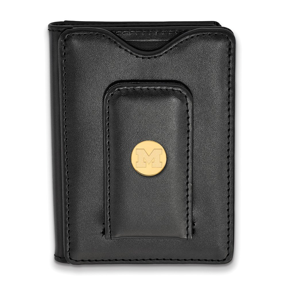 Black Leather Wallet Sterling Silver w// 14K Yellow Gold-Plated LogoArt Official Licensed Collegiate University of Michigani UM