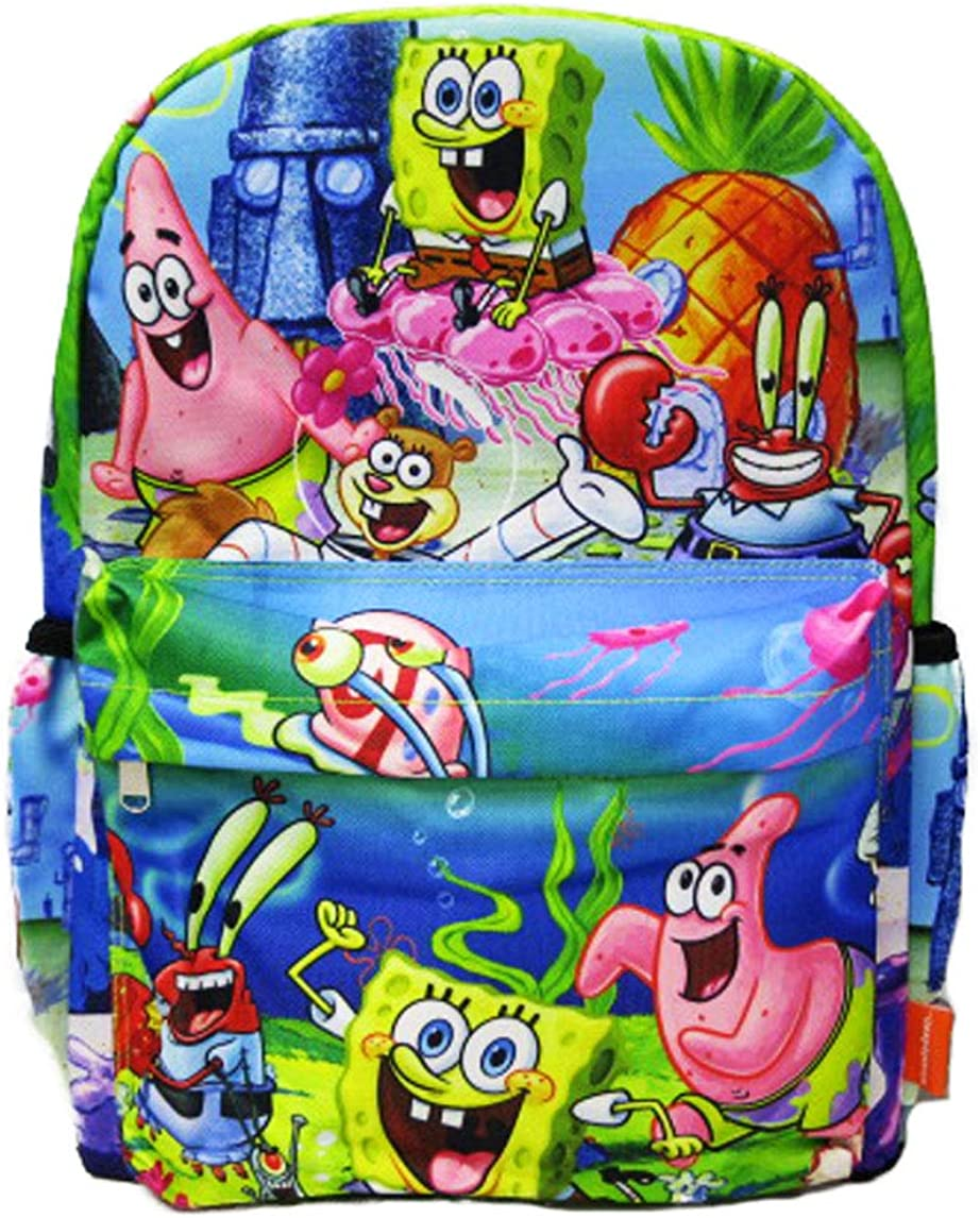 SpongeBob Squarepants - 16 inch All Over Print Deluxe Backpack With Laptop Compartment