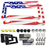 Aootf American Flag License Plate Frame- USA Patriotic Auto Car Tag Holder Cover, 2 Pcs Novelty Aluminum Bracket for Women, w
