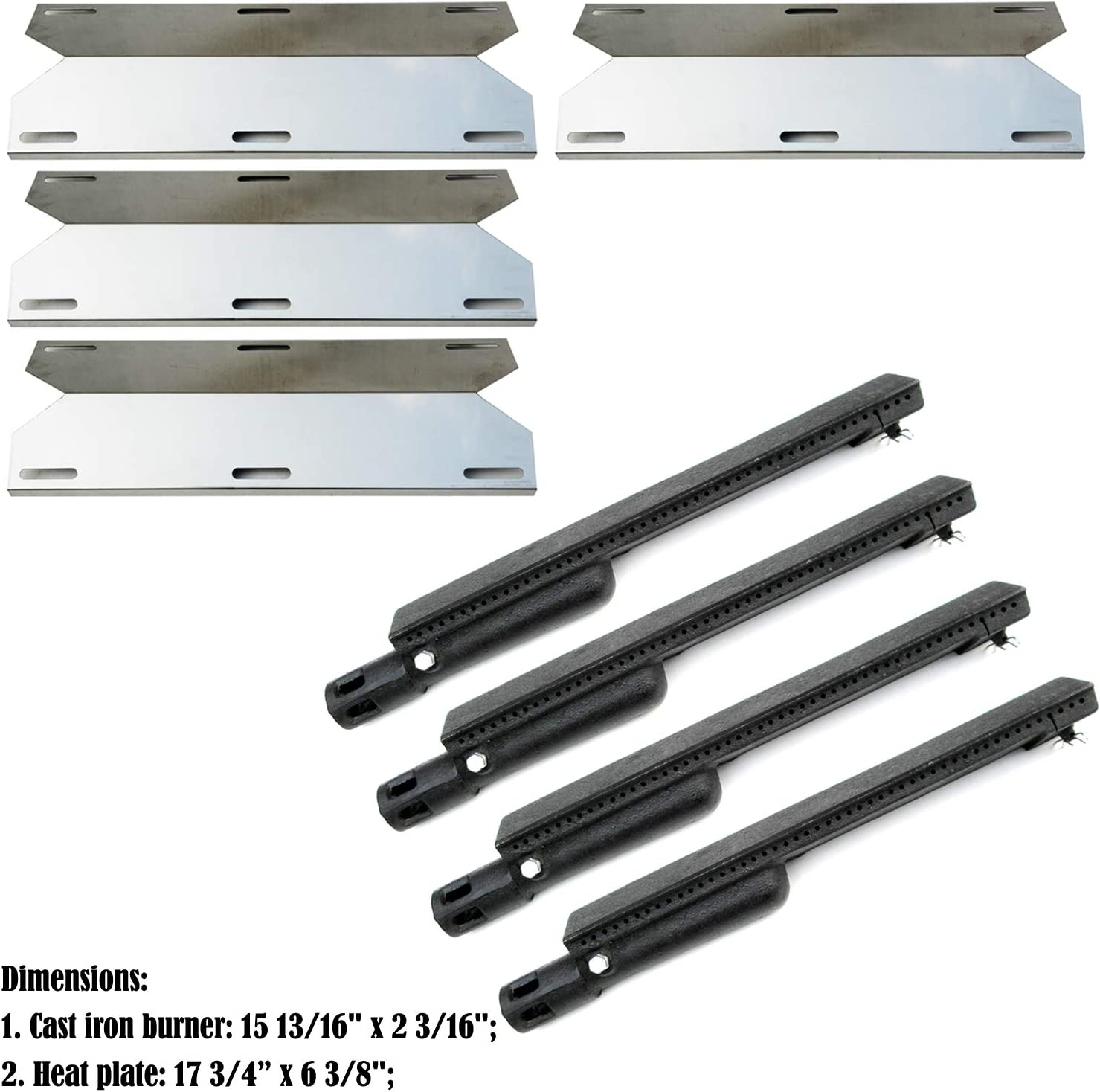 Direct Store Parts Kit DG224 Replacement for Jenn Air Gas Grill Repair Kit Gas Grill Burner and Heat Plate- 4 Pack (Cast Iron Burner + Stainless Steel Heat Plates) : Garden & Outdoor