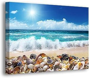 Ocean Starfish Sea Shell Beach Wall-Art - Canvas Art Wall-Decor - 12 x 16 inches