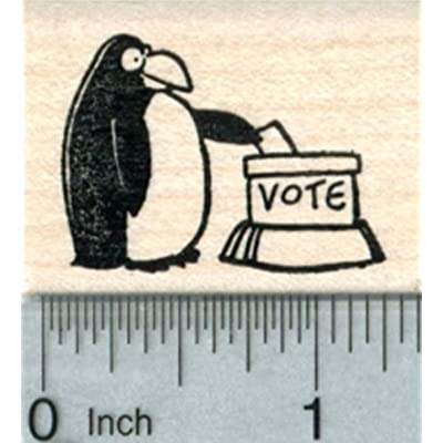 Penguin Casting Ballot Rubber Stamp, Voting Series: Arts, Crafts & Sewing