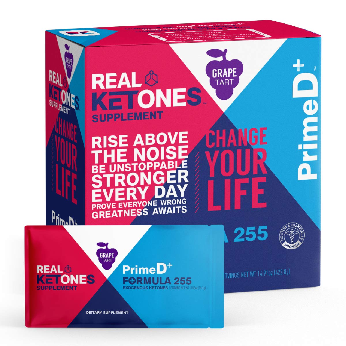Real Ketones - Prime D+ Grape Tart Exogenous Ketone Supplement with BHB and MCT Combo for Ketone Boost, Energy and Focus