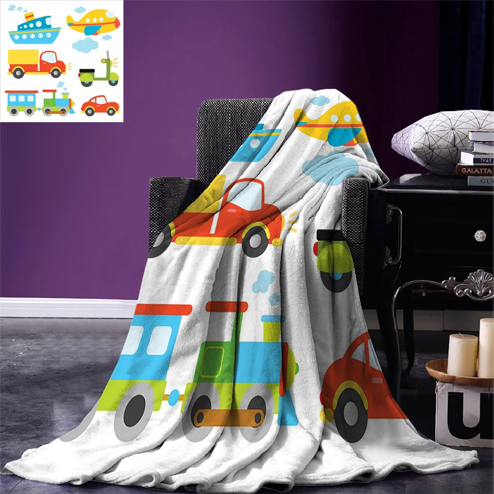 smallbeefly Boys Throw Blanket Abstract Transportation Types for Toddlers Car Ship Truck Scooter Train Aeroplane Warm Microfiber All Season Blanket for Bed or Couch Multicolor