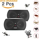 Ultrasonic Pest Repeller, Pest Reject Electronic Plug in Pest Repellent Control with On/Off Night Light Kids Pets Safe, Insect Repeller for Bug Rodent Mouse Roach Mosquito Fly Flea Spider - 2 Pack