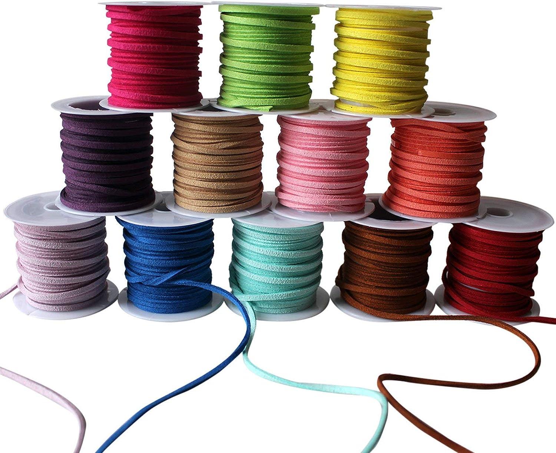 Curtzy Cordón de Ante (12 piezas) - 3m Rollos 3mm de Grosor Cordón de Ante Falso para DIY Pulsera, Collar, Manualidades, Fabricación de Bisutería