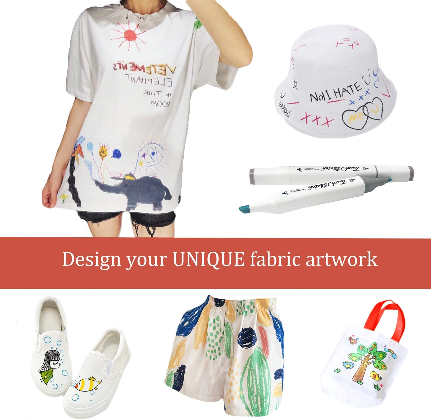 Bags Dual Tip Fabric Paint Art Markers for DIY Clothes Shoes T-Shirt Fabric Markers Pens Permanent 30 Colors Canvas Child Safe/&Non Toxic