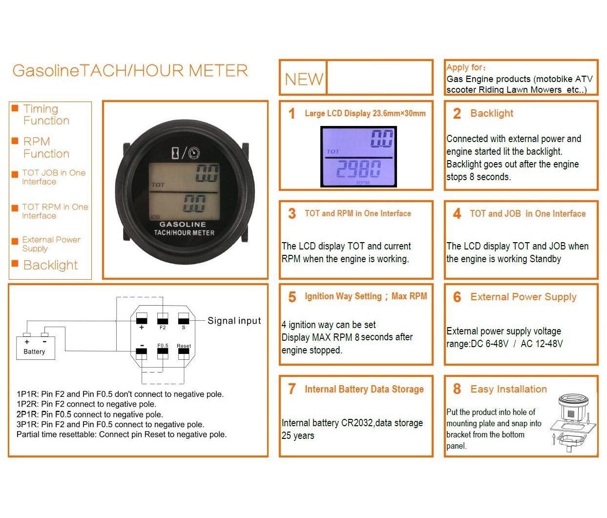 Searon - Tacómetro digital para motor de gas de 2 y 4 tiempos para ...