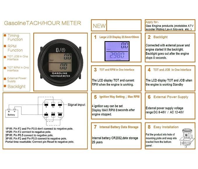 Searon - Tacómetro digital para motor de gas de 2 y 4 ...