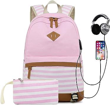 TRO-Lls Wo-Rld School Backpack Bookbag Casual Daypack Travel Laptop Backpack for Girls Women Teenagers Pink
