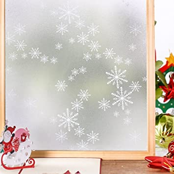 Amazoncom Homein Privacy Window Films Snowflake Window Clings - Snowflake window stickers amazon