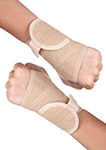 Healthgenie 14675 Wrist Brace with Thumb Support One Size Fits Most - 1 Pair (Beige)