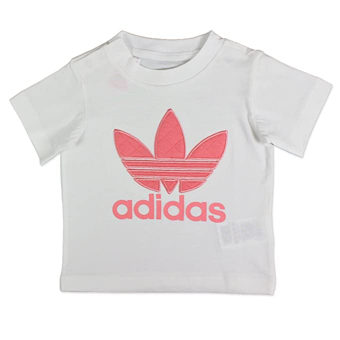 adidas Originals Trefoil Quilted Tee MÄDCHEN Kinder Baby T Shirt Weiss ROSA