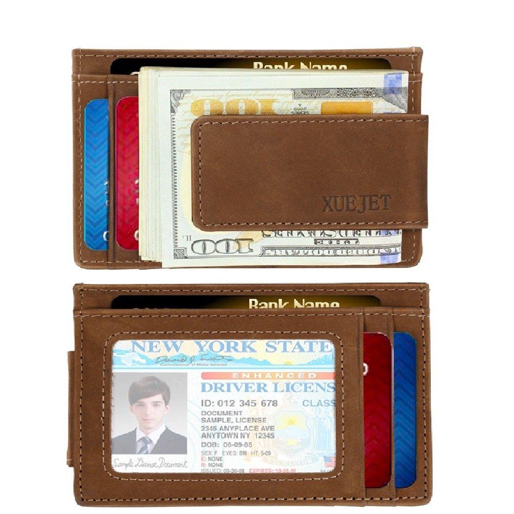 XUEJET Front Pocket Wallet Genuine Leather RFID Blocking Money Clip Minimalist Card Case for Men (Brown)