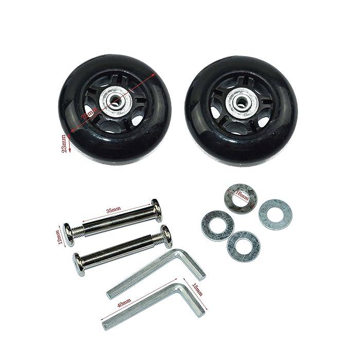lovinstar 1 par de ruedas de repuesto, maleta, skate, ruedas, ejes, diámetro exterior 75 mm (75 x 23 x 6 mm)