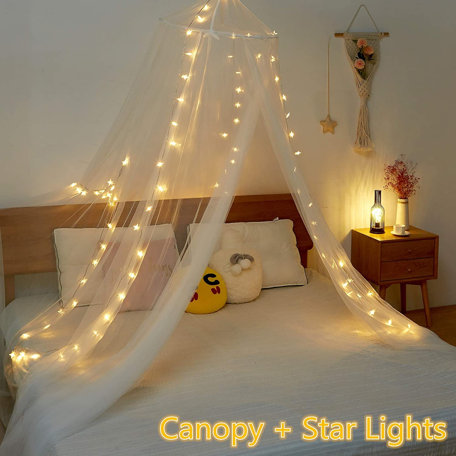 Twinkle Star Bed Canopy (White) 40 LED 14 FT Star String Lights