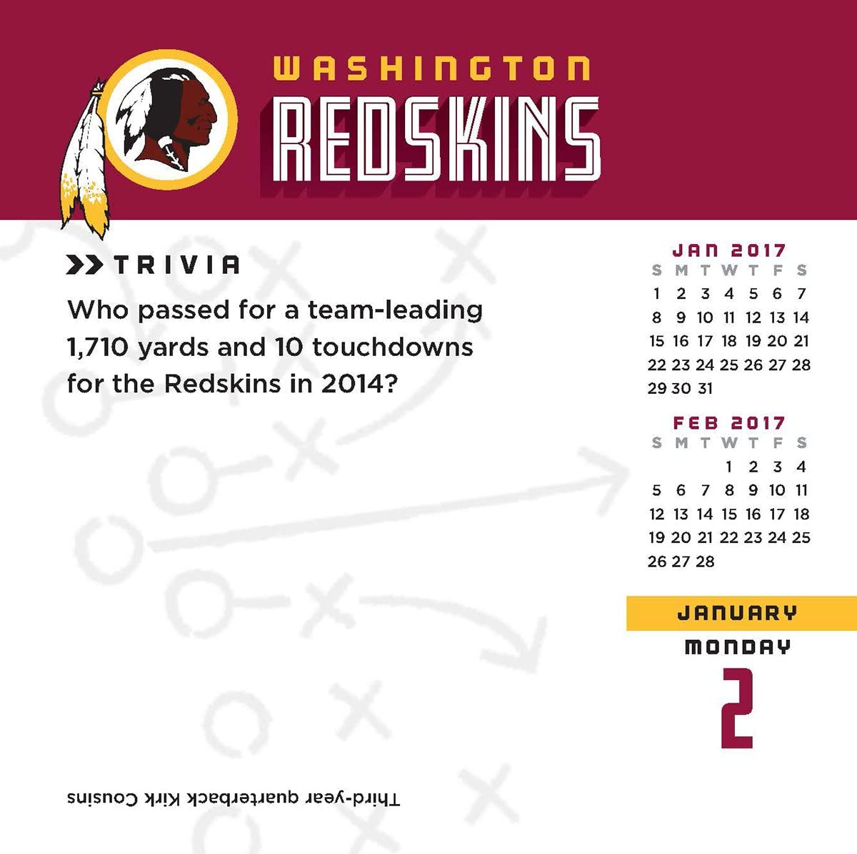 17998051457 Turner Licensing Sport 2017 Washington Redskins Box Calendar