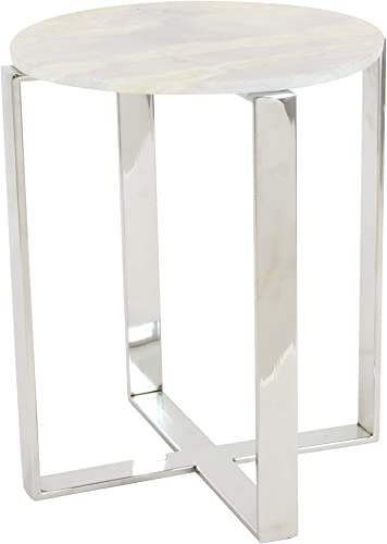 Deco 79 Stainless Steel And Marble End Table 18″W