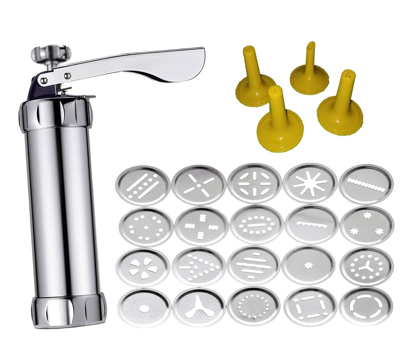 Stainless Steel Cookie Press Kit - Biscuit Gun Set with 20Pcs Cookie Disc Shapes and 4Pcs Decorating Tips by Sindh (Image #1)
