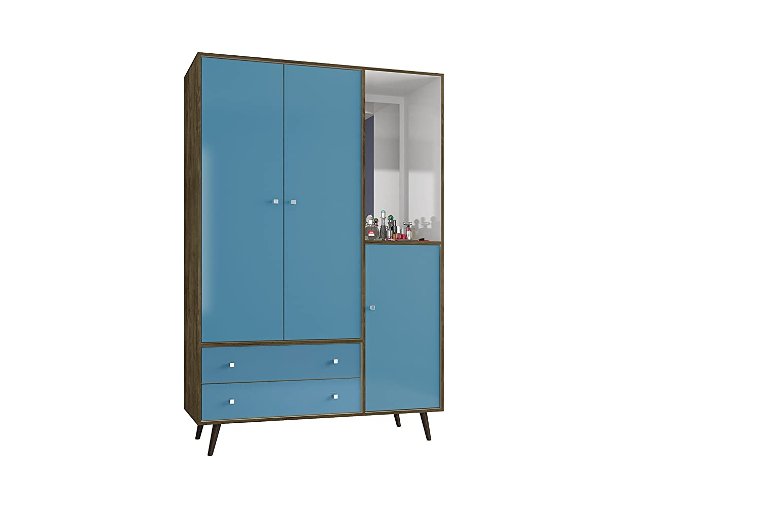 Manhattan Comfort Liberty Collection Mid Century Modern Armoire Closet With Two Cabinets and Two Drawers With Open Shelf Space, Blue/Wood 208BMC93