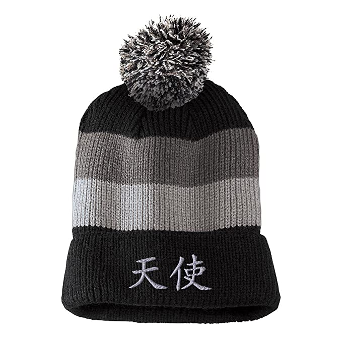 2791a4f8 Chinese Symbol for Angel Silver Sewed Unisex Adult Acrylic Vintage Striped  Removable Pom Pom Beanie Winter