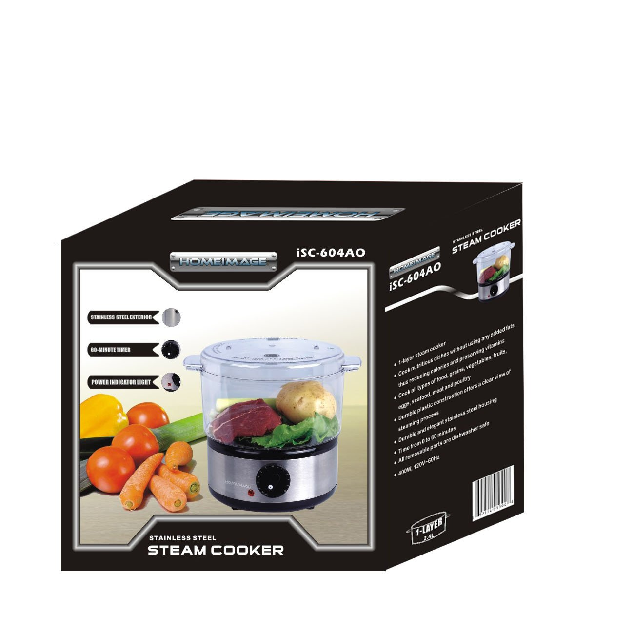 1-tier 2.5qt Diet Food Steamer, Cooker,Easy Use