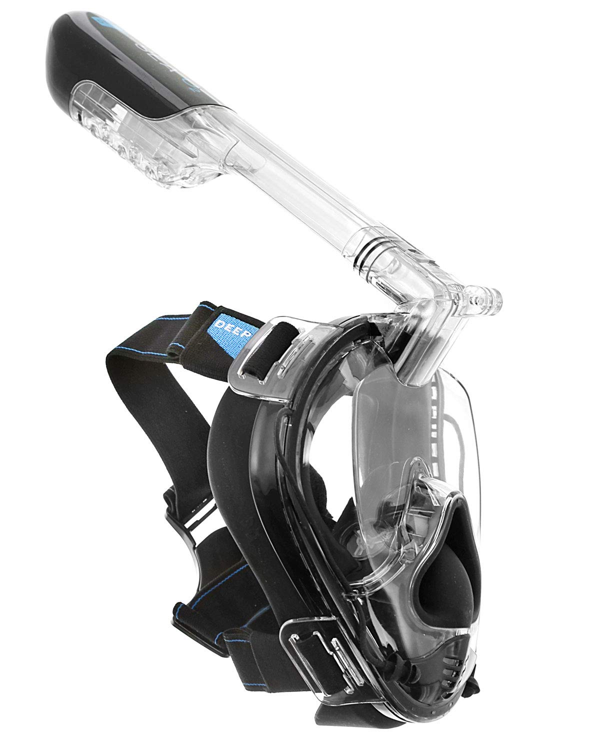 Deep Sea O2 | Only Full Face Snorkel Mask Designed to Protect Against Dangerous CO2 Build-Up | Panoramic View | Soft Nose for Diving | Anti-Fog | Camera Mount | Universal Size- Kids to Adult | Black by Deep