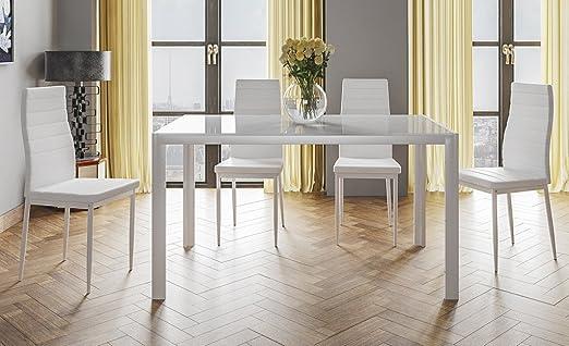 HOGAR24.es- Conjunto Mesa 140 cm x 80 cm x 75 cm + 4 SILLAS Color ...