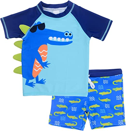 Essentials Baby Boys 2-Piece Long-Sleeve Rashguard and Trunk Set