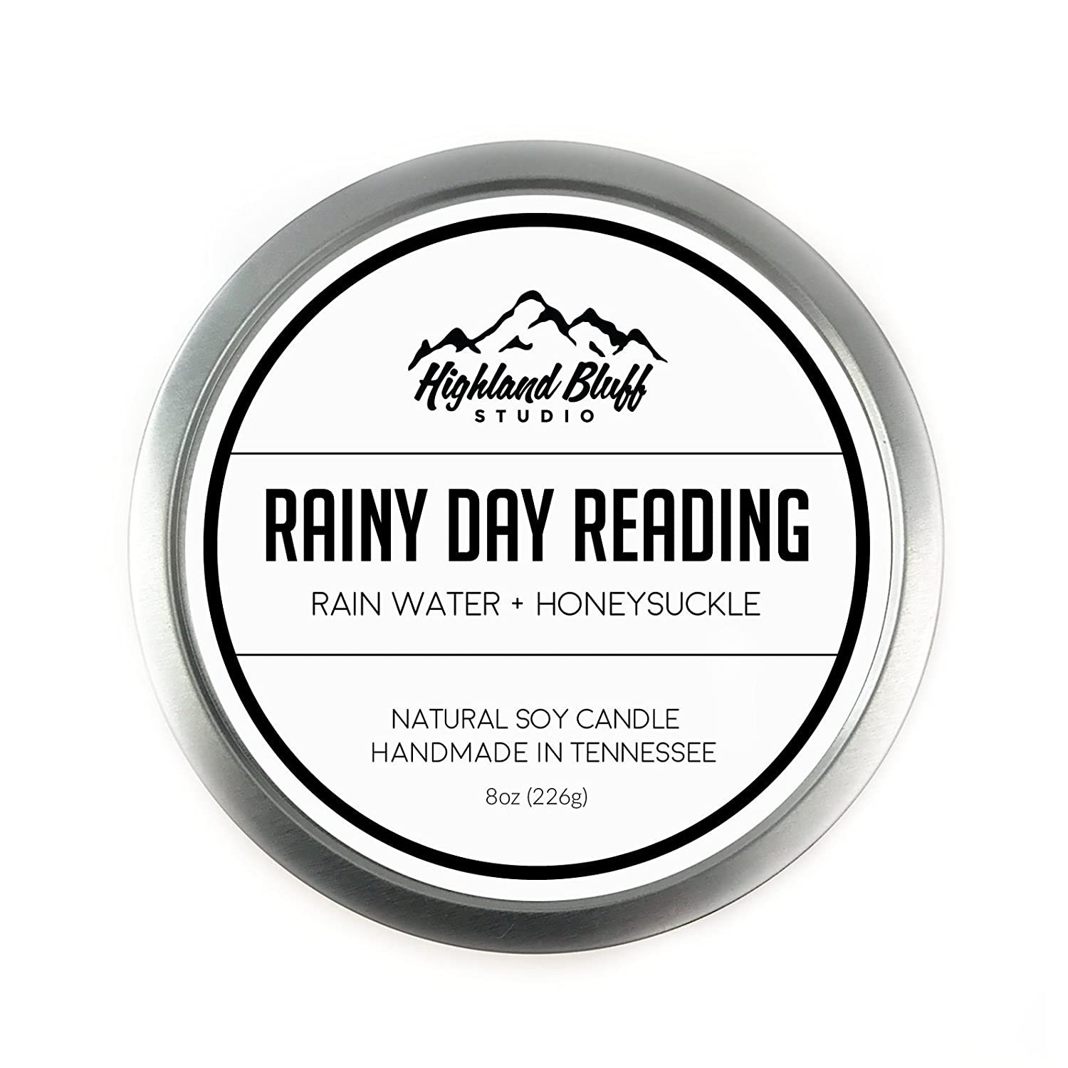 Rainy Day Reading - 8oz Soy Candle - Rain Water and Honeysuckle Highland Bluff Studio