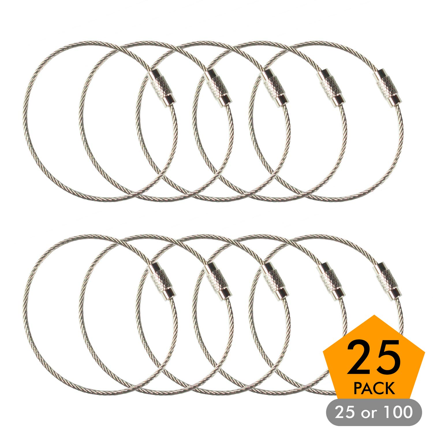 Amazon.com   Stainless Steel Wire Keychains 1.5mm 6.3 Inches Aircraft Cable  Key Ring Loops for Hanging Luggage Tags or ID Tags (25 Pack)   Office  Products 95ed4a1e2